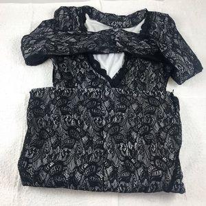 6/8 Blk Lace long sleeve mini dress